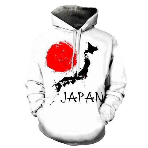 3d Abstract Japan Map - Hoodie- Sweatshirt- Pullover