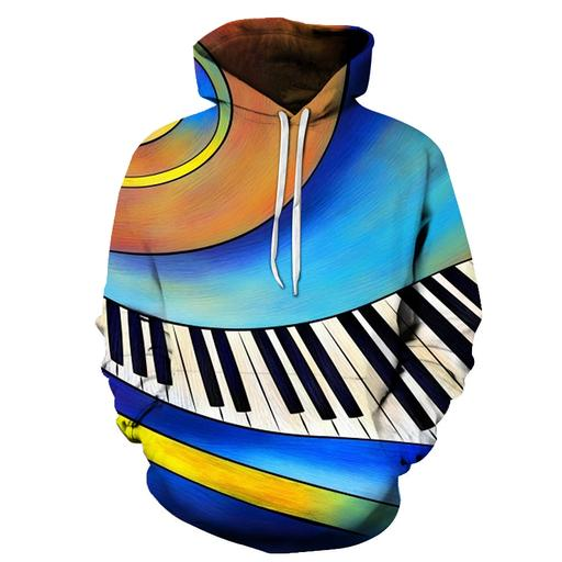 3d Animated Piano Keys - Hoodie- Sweatshirt- Pullover