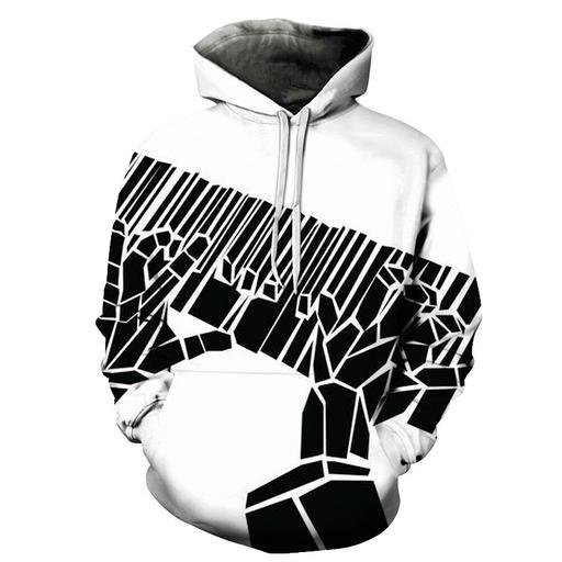 3d Black Piano Keys Playing - Hoodie- Sweatshirt- Pullover