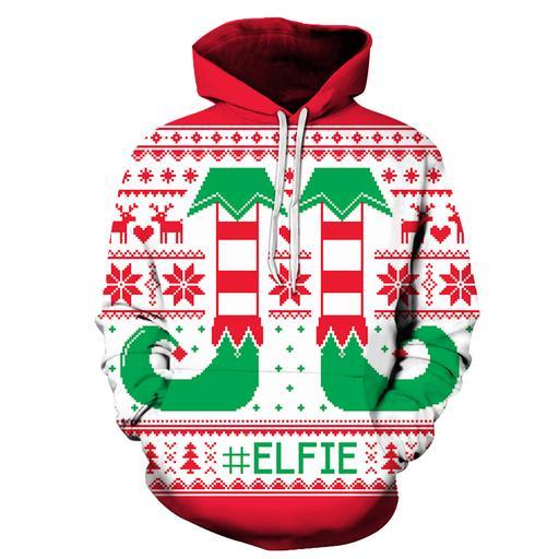 3d Christmas Elfie Hoodie - Sweatshirt- Hoodie- Pullover