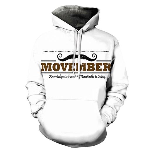 3d Mustache Is King Hoodie - Sweatshirt- Hoodie- Pullover