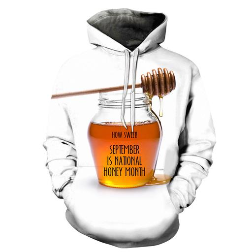 3d ''september'' National Honey Month - Hoodie- Sweatshirt- Pullover