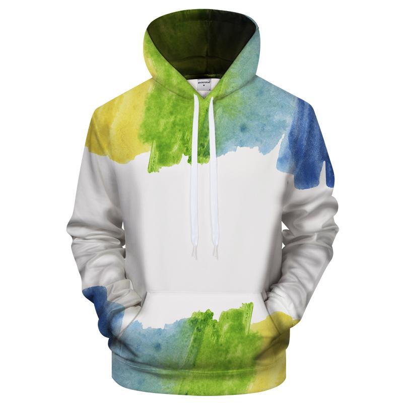 Blue & Green Watercolor Hoodie 3d Sweatshirt Pullover Hoodie