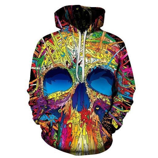 Colorful Skull Print 3d Sweatshirt- Hoodie- Pullover
