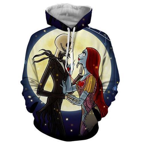 Jack & Sally The Nightmare Before Christmas 3d Sweatshirt- Hoodie- Pullover