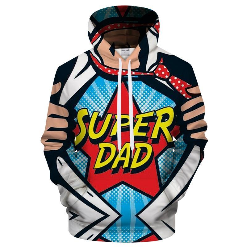 Super Hero Dad 3d Sweatshirt Hoodie Pullover