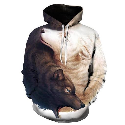 Ying Yang Wolf 3d Sweatshirt Hoodie Pullover