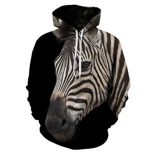 Zebra 3d - Sweatshirt- Hoodie- Pullover